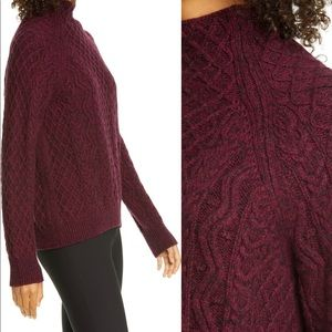 HP✨Vince | Cable Mock Neck Wool Blend Sweater